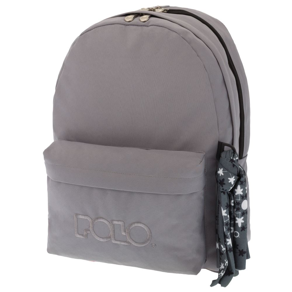 c70ac41852 Τσάντα σακίδιο double με μαντήλι γκρι 9-01-235-09 2018 Polo ...